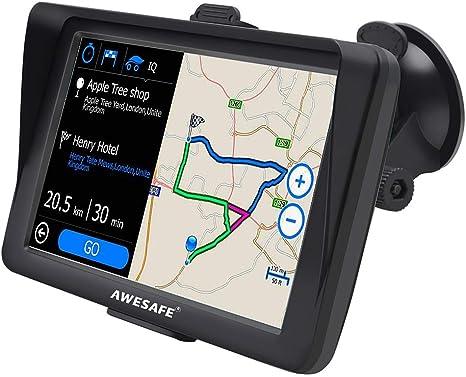 AWESAFE Navegador GPS con Visera para Coches de 7 Pulgadas con 22 Tipos PDIs y Planificaciones Inteligentes de Rutas (con Mapas Últimos y Actualizaciones de por Vida): Amazon.es: Electrónica