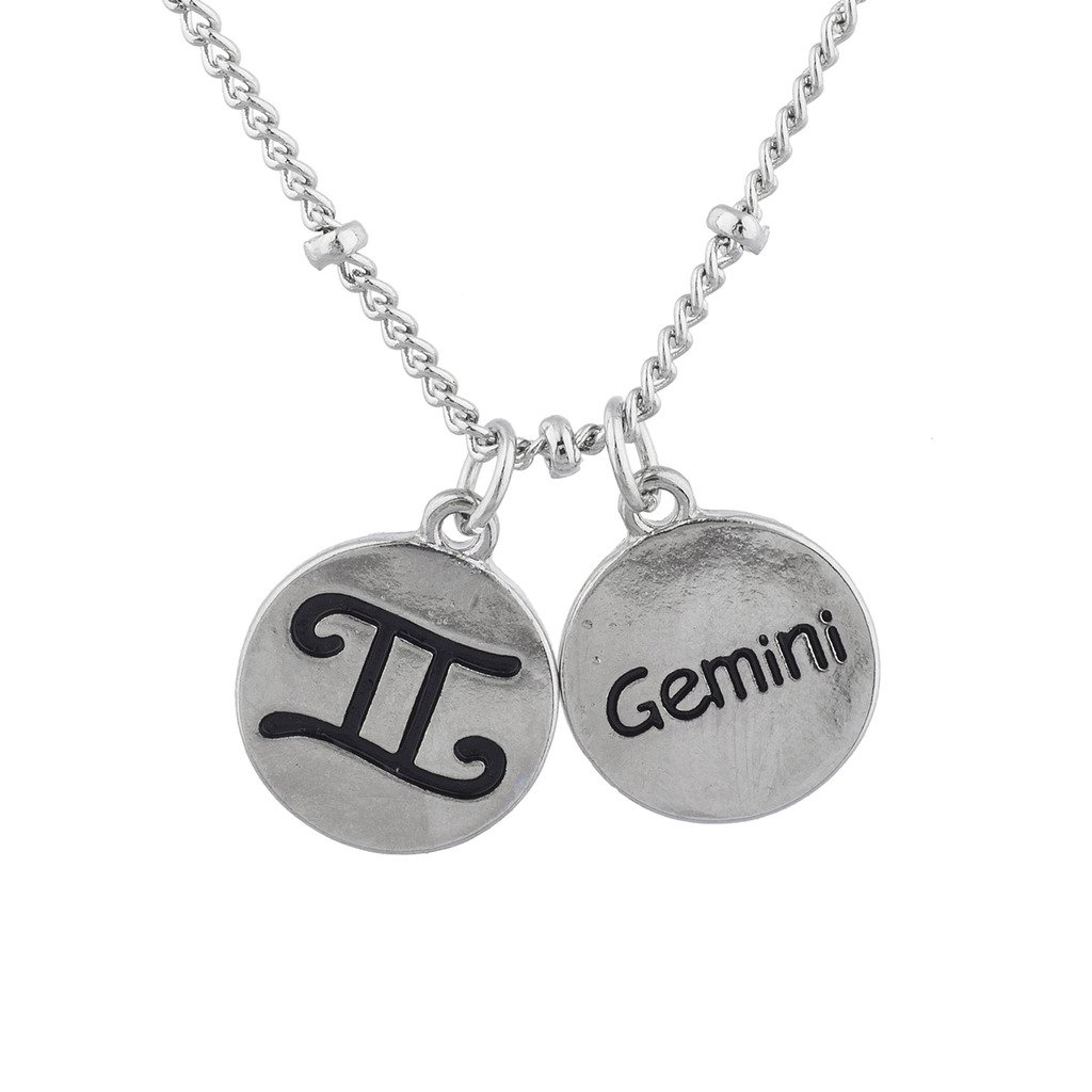 Lux Accessories Silver Tone Gemini Horoscope Astrology Sign Charm Necklace
