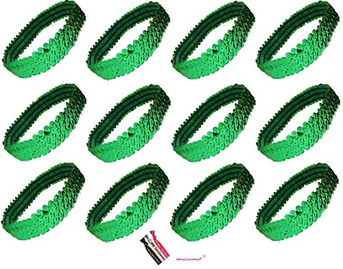 12 Sequin Headbands U PICK (Available in LOTS of COLORS) Elastic Stretch Sparkly Fashion Headband for Teens Girls Women Softball Pack Volleyball Basketball Dance Set Sports Teams Store By Kenz Laurenz (Green) ()