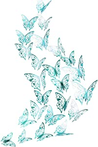 Mirror Teal Butterfly Wall Decal Removable Mural Sticker for Wedding Engagement Baby Shower Birthday Party Decor Home Living Room Bedroom Showcase Window Nursery Butterflies Decoration
