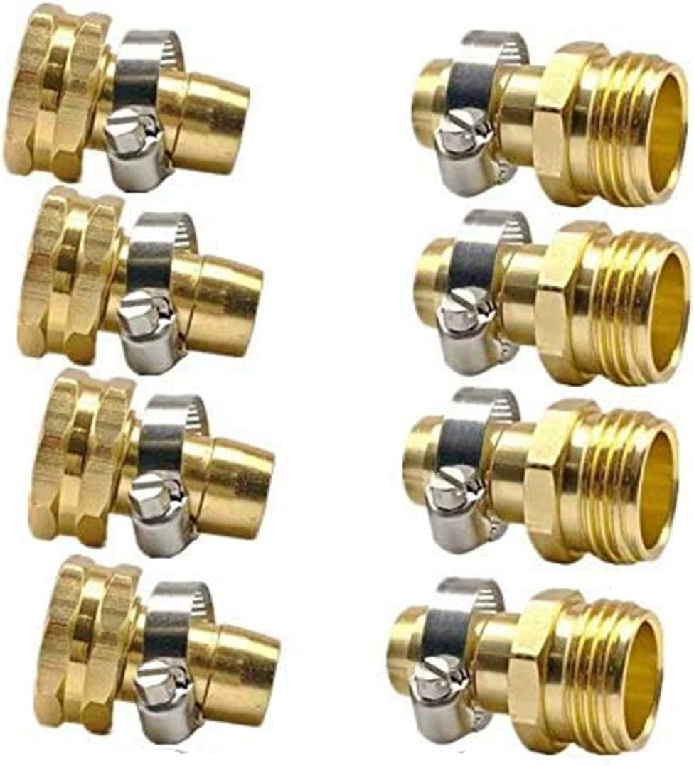 """Cecofishus Garden Hose Repair Connector, 3/4""""-5/8"""" Male and Female Garden Hose Fittings with Clamps,No-Leak Easy Connect Adapter Set, Male and Female (4 Sets)"""