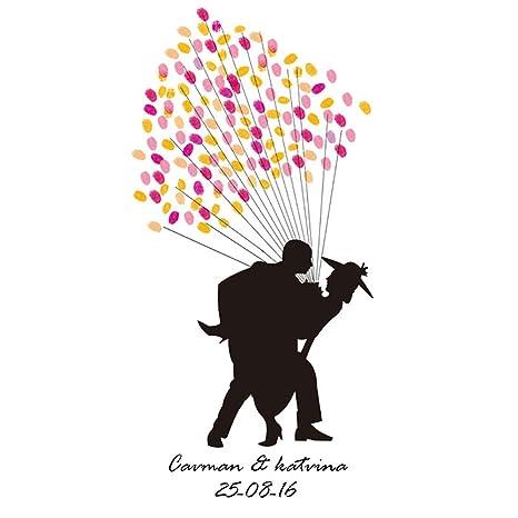 Huella Dactilar Firma Libro De Visitas Lona Pareja Casada Impresión Del Pulgar DIY Registrarse Abrazo Único