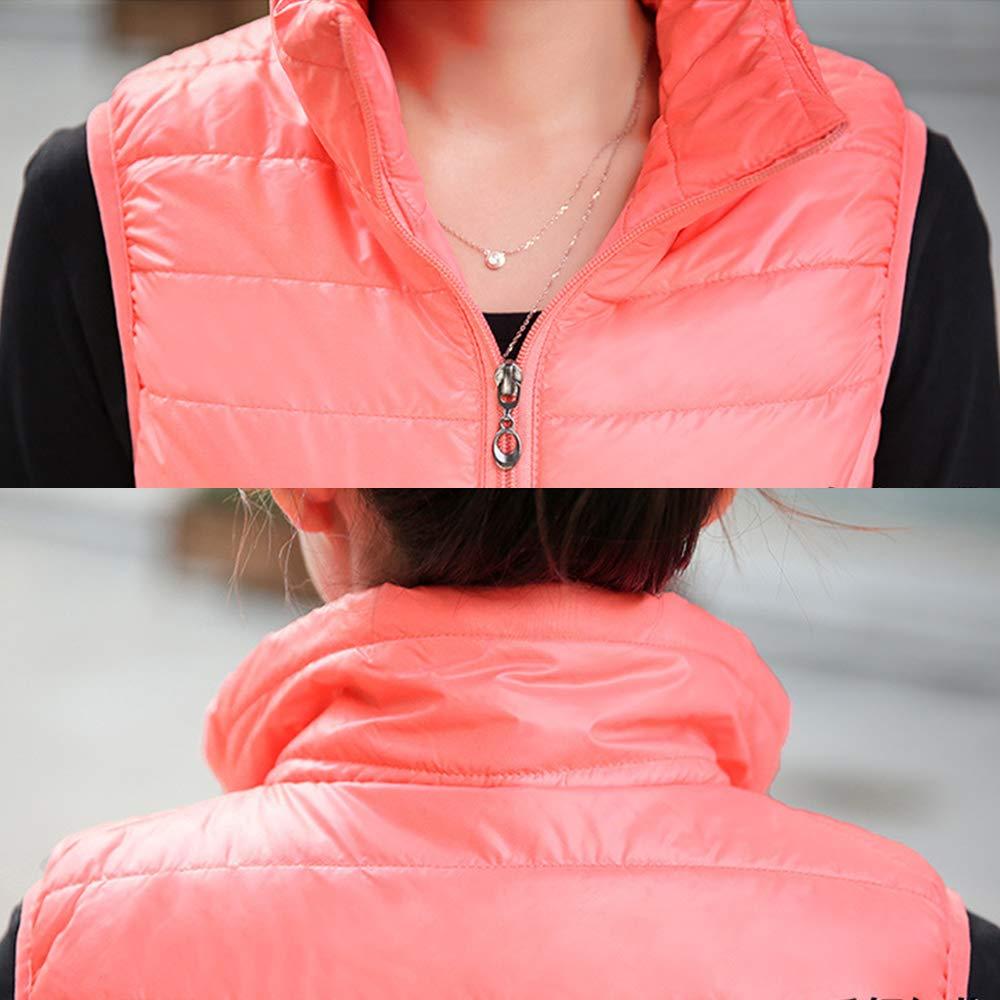 XFentech Femme sans Manche Doudoune Gilet - Ultra Légère Veste Manteau Parka Matelassé Blouson Zippée Hiver pour Femme Rose Rouge