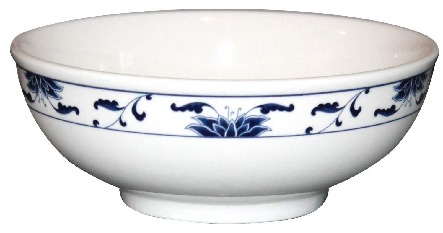 Cameo China Porcelain Bowls with Pan Scraper, Blue Lotus Design, White Ivory, Set of 2 (7.25 Inch, 36 Ounce) MBW NW Brands