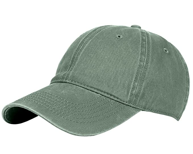 8dd22a0b3b7 Glamorstar Classic Unisex Baseball Cap Adjustable Washed Dyed Cotton Ball  Hat Army Green