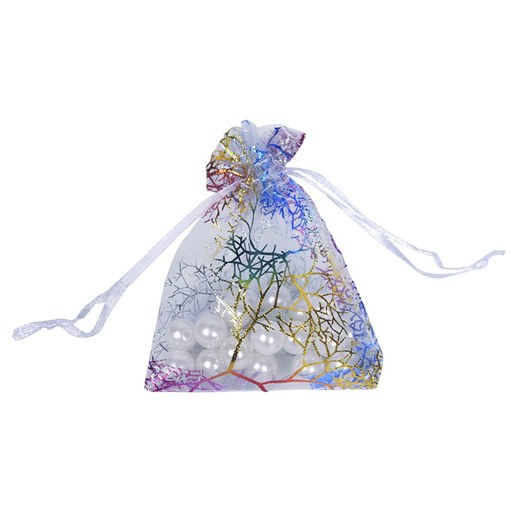 100 Pezzi YFZYT Sacchetti Regalo Organza 6x8 cm Modello Fiocco di Neve Bronzing Wedding Party Favore Borse Sacchetti di Gioielli Avvolgere Sacchetti di Imballaggio Regalo Monete Rosso#E
