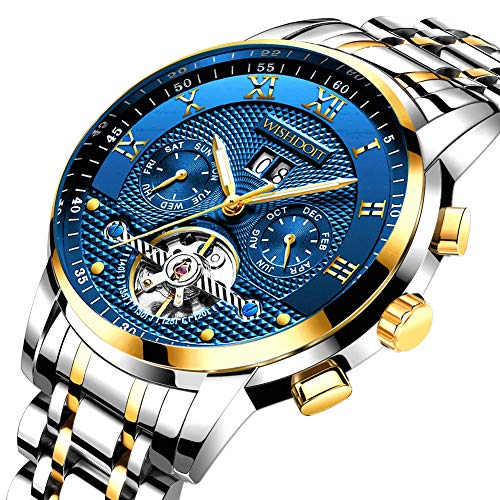 Mens Watches Luxury Fashion Automatic Date Stainless Steel Waterproof Mechanical Watch Gents Casual Business Dress Gents Wrist Watch Blue Silver (Best Mens Luxury Watches 2019)