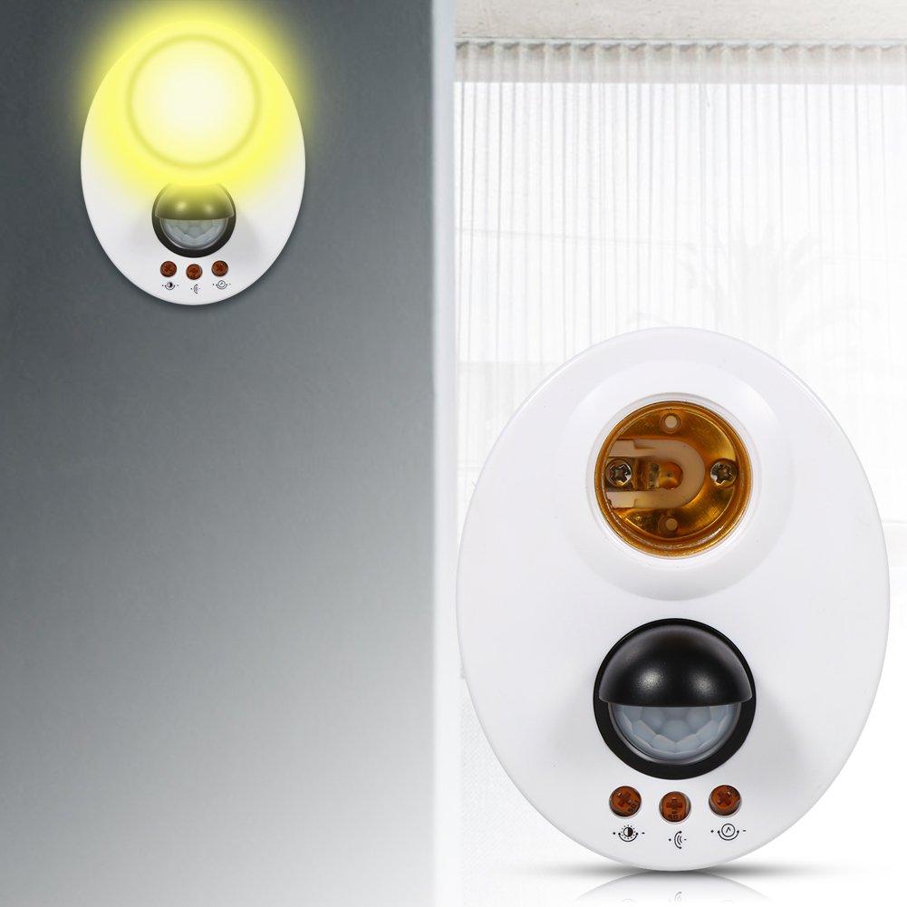for Indoor Aisle Storage Room Garage PIR Motion E27 Lamp Holder Adjustable LED Light Switches Auto On//Off Bulb Control Motion Sensor Light Socket