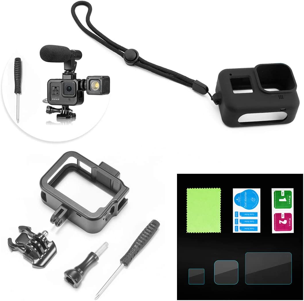 Protective Silicone Case with Lanyard for GoPro Hero 8 Black Action Camera Haoun Accessory Bundles for GoPro Hero 8 Black,3-in-1 Accessories Aluminum Protective Frame+Screen Protector