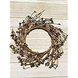 """Farmhouse Mini Wreath Or Candle Ring Country Primitive Floral Décor - Burgundy, Cream, Green Pips - Perfect Candle Ring For 4"""" Pillars (Wreath is 8"""") 11"""