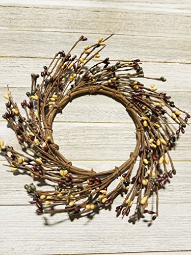 Farmhouse Mini Wreath Or Candle Ring Country Primitive Floral Décor - Burgundy, Cream, Green Pips - Perfect Candle Ring For 4