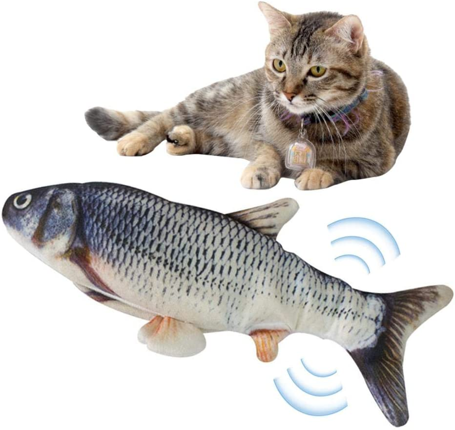 Realistic Fish Plush Toy Funny Cat Toy Simulation Electric Doll Fish Shape Pets Pillow Cat Kicker Electric Jump Fish Toy Rechargeable Chew Toy Cat Wagging Fish Toy Catnip Fish Mint USB Plush Toy