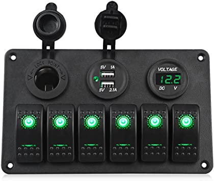 w//  GREEN Panel LED toggle switches RED
