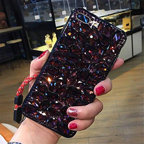 Make Wine Blackberry (Case for BlackBerry KEY2,Luxury 3D Handmade Sparkle Stunning Stones Crystal Rhinestone Bling Full Diamond Gemstone Glitter Case for BlackBerry Key2/BlackBerry KEYtwo(A Full Wine Red))