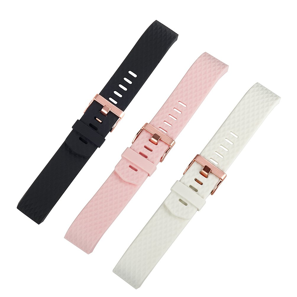 For Fitbit Charge 2 Bands Accessories, Wearlizer Silicone Replacement Strap For Fitbit Charge 2 Special Edition Lavender Rose Gold, Pack of 3 Colors Black White Pink