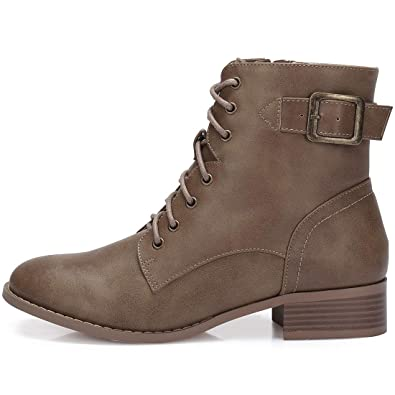07460c87c9cd CAMEL CROWN Women s Combat Style Lace Up Ankle Booties Faux Leather Stylish  Chunky Low Heel Ankle