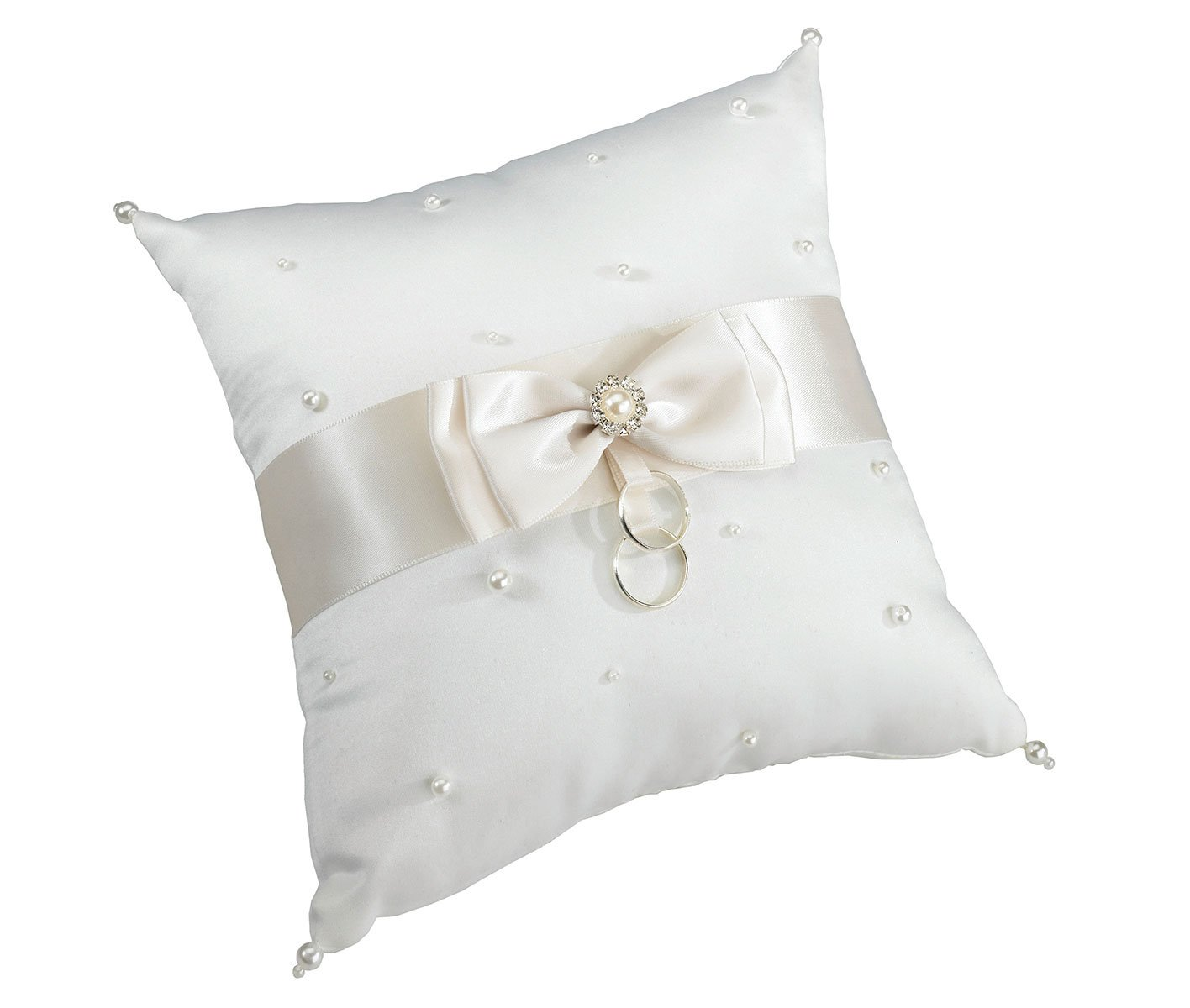 Lillian Rose Classic Ivory Satin Pearl Wedding Ring Pillow by Lillian Rose