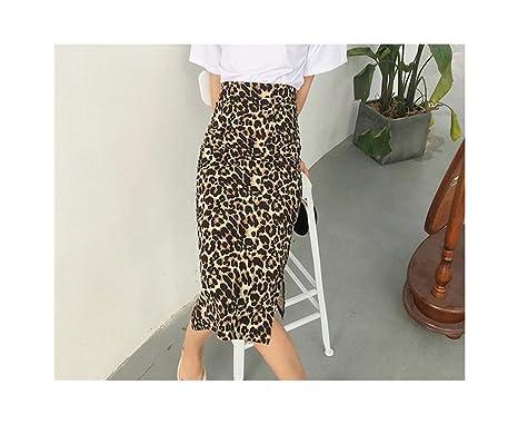 Otoño High Street Leopard Empire Mujeres Sexy Falda Larga Slim Fit ...