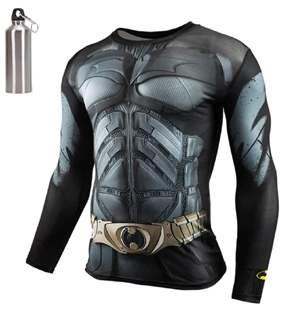 b246f8defe8f6 MultiverseMerch Superhero Compression Exercise Fitness Sports Dri-Fit Long  Sleeve Shirt with Bonus Free Water Bottle