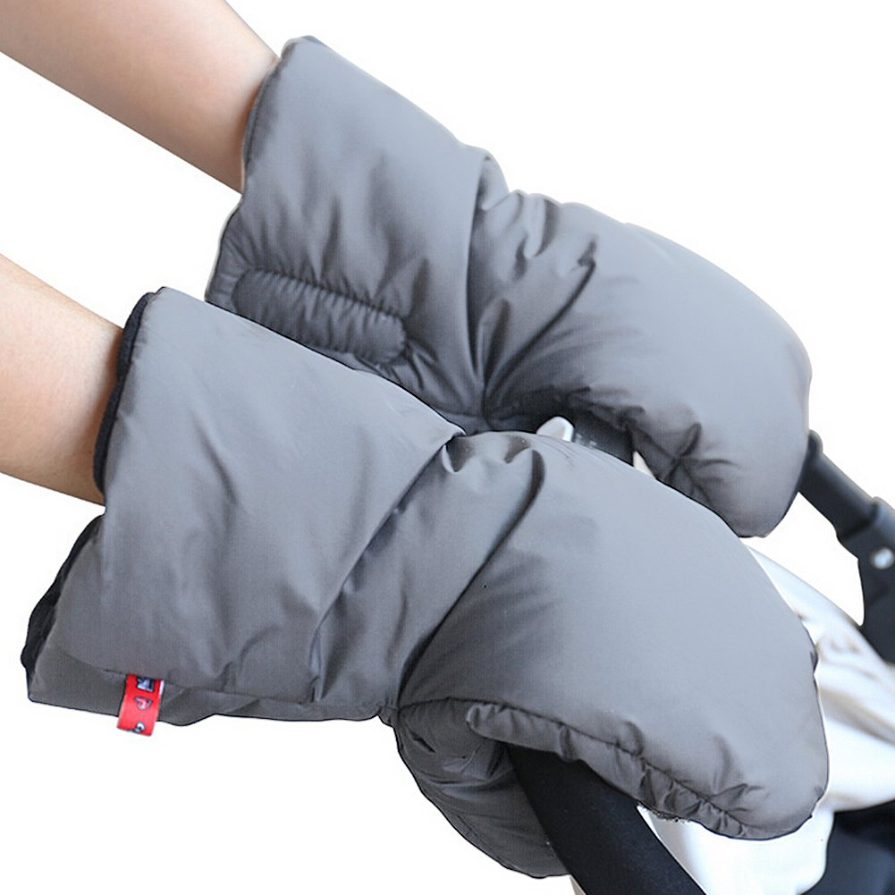 IntiPal Extra Thick Stroller Hand Muff Winter Waterproof Anti-freeze Gloves for Parents and Caregivers (Gray) Mightyhand HBBB64321
