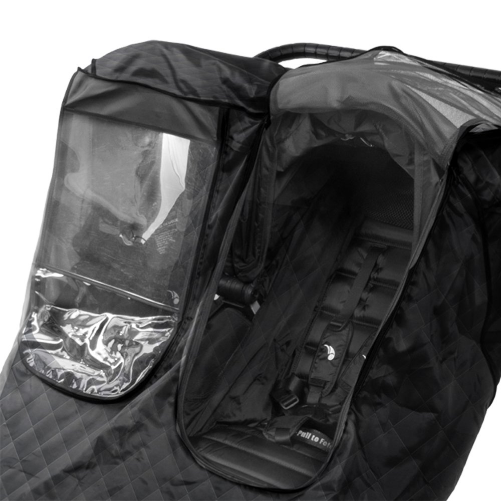 Comfy Baby Insulated Quilted Rain-cover Clear See-Thru Windows with Extra Sun Shade and Protection Net, Special Designed for the City Mini Double Stroller by Comfy Baby (Image #2)