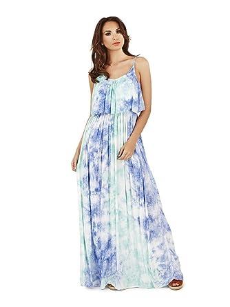 Pistachio Women s Tie Dye Strappy Long Maxi Summer Dress  Amazon.co.uk   Clothing 995722ac7