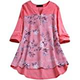Womens Casual Loose Print Button Long Sleeve Linen Plus Size Tanic Blouse Tops