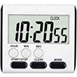 CoolHome Digital Kitchen Alarm Timer/Clock,Large LCD Display,Loud Alarm Magnetic Back and Retractable Stand,Minute Second Count Up Countdown (Black)