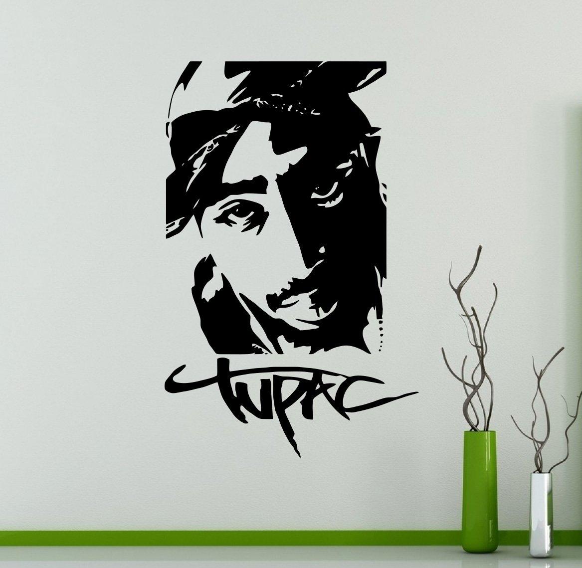 2pac wall decal tupac amaru shakur wall vinyl sticker rapper hip 2pac wall decal tupac amaru shakur wall vinyl sticker rapper hip hop home interior bedroom decor wall design 9 tpc amazon com