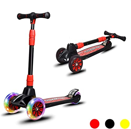 4 Adjustable Height Best Gift for Boys and Girls LED Flashing Wheels 3 in 1 Scooter for Kids with Foldable//Removable Seat 3 Wheel Scooter for Toddler Ages 1-8 Years