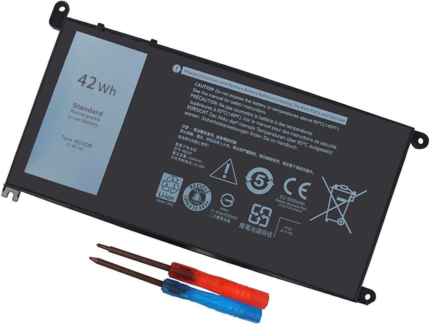 WDX0R Notebook Battery 11.4V 42WH for DELL Inspiron 5368 5378 5565 5567 5568 5578 5765 5767 7368 7378 7560 7570 7579 7569 14-7460 P58F 3CRH3 T2JX4 WDXOR CYMGM