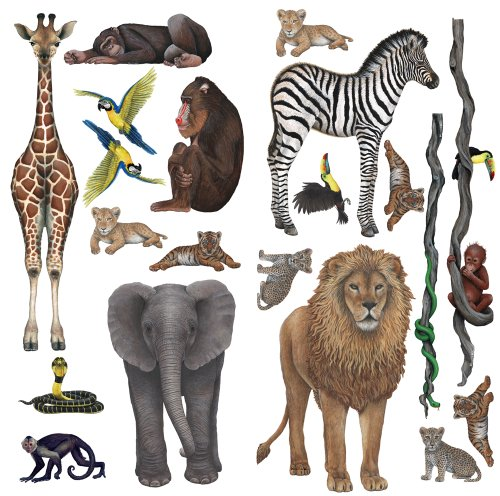 Safari Cut Out Wallpaper (Rainforest Jungle and Safari Sticker Murals Collection Economy Size)