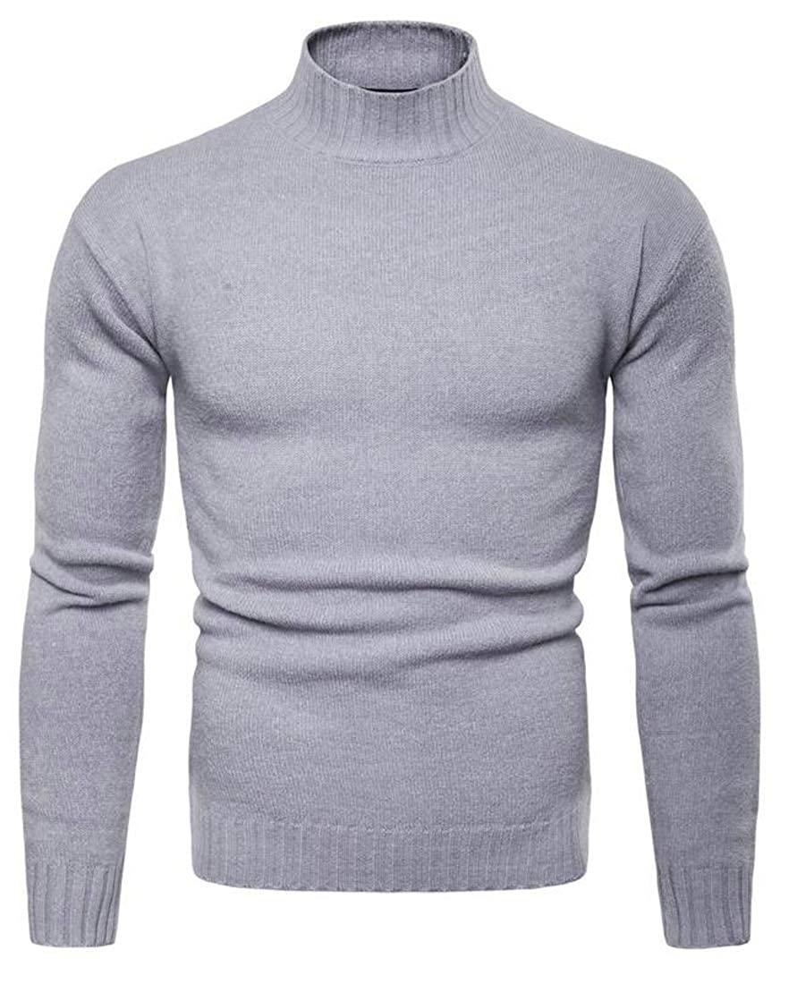 Etecredpow Mens Slim Fit Turtleneck Knitted Classic Pullover Jumper Sweaters