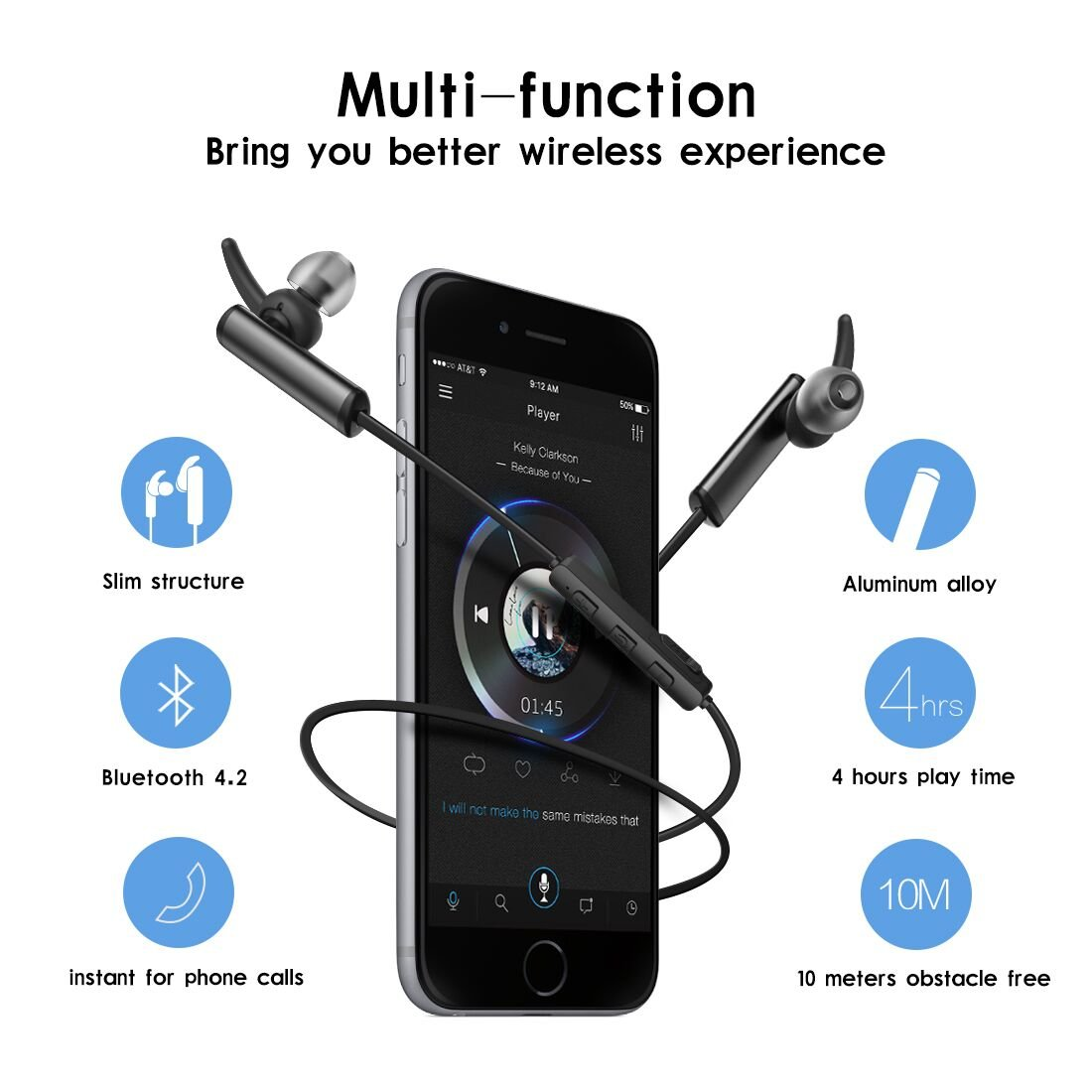 Auriculares Bluetooth 4.2 Syllable D300L Auriculares Inalámbricos Portátil Deportivos in-ear con Micrófono para Manos Libres para iPhone, Android Smartphone ...
