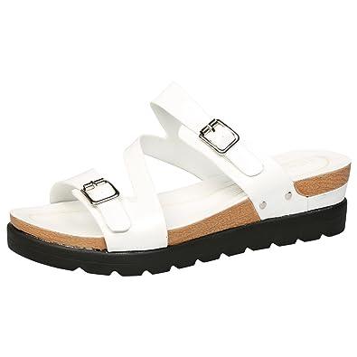 b7780463a10e Feet First Fashion Enid Womens Low Wedges Heels Platfor White 4 UK 37 EU