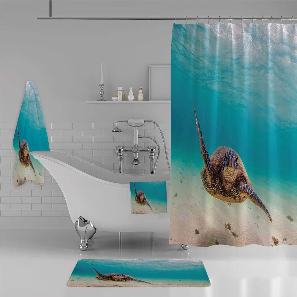 Bathroom 4 Piece Set Shower Curtain Floor mat Bath Towel 3D Print,Sea Turtle Nature Animal Swimming Wildlife Theme,Fashion Personality Customization adds Color to Your Bathroom.