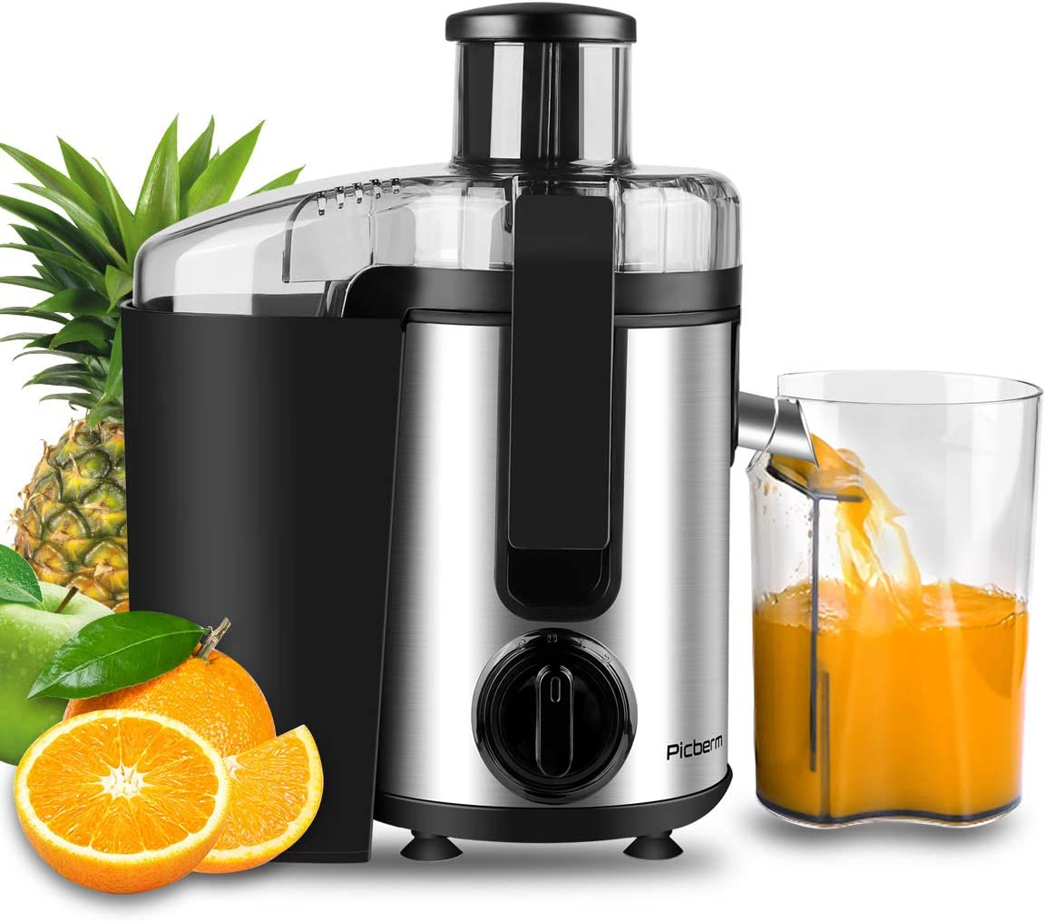 Juicer, Picberm Centrifugal Juicer Machines Easy to Clean, Wide Mouth Juice Extractor with Peeler, Brush Recipes for Fruits and Vegetables, Dual Speed Stainless Steel BPA-Free Juicers Dishwasher Safe, 400 W