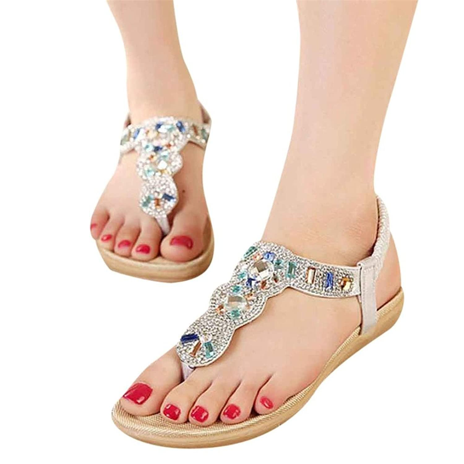 Elaco Sweet Beaded Clip Toe Flats Bohemian Herringbone Sandals For Women