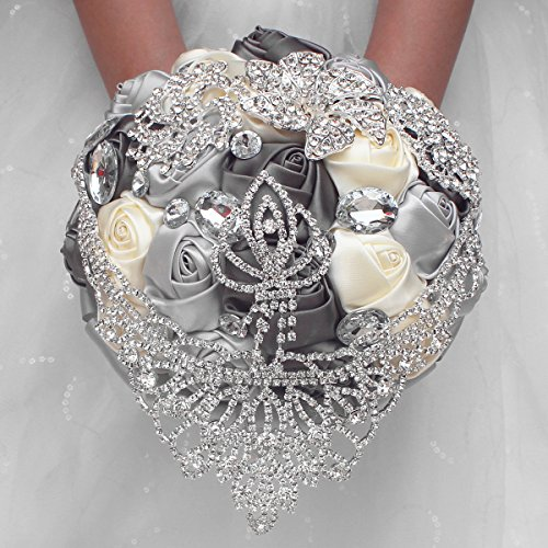 Zebratown 7'' Silver Grey Crystal Romantic Wedding Bride Holding Bouquet Roses Diamond Pearl Ribbon (Silver)