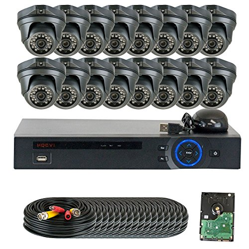 GW Security 16 Channel HD 2.0MP 1080P HD-CVI Outdoor/ Indoor Security Camera System with Pre-Installed 4TB Hard Drive - High Resolution Long Distance Transmit Range (Dome cameras)