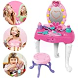 Baiwka Girls Dressing Table Play Set, Kids Dressing Table Set, Pretend Play Kids Vanity Table And Chair With Mirror & Light & Music, Ideal Toy Gift For Girls