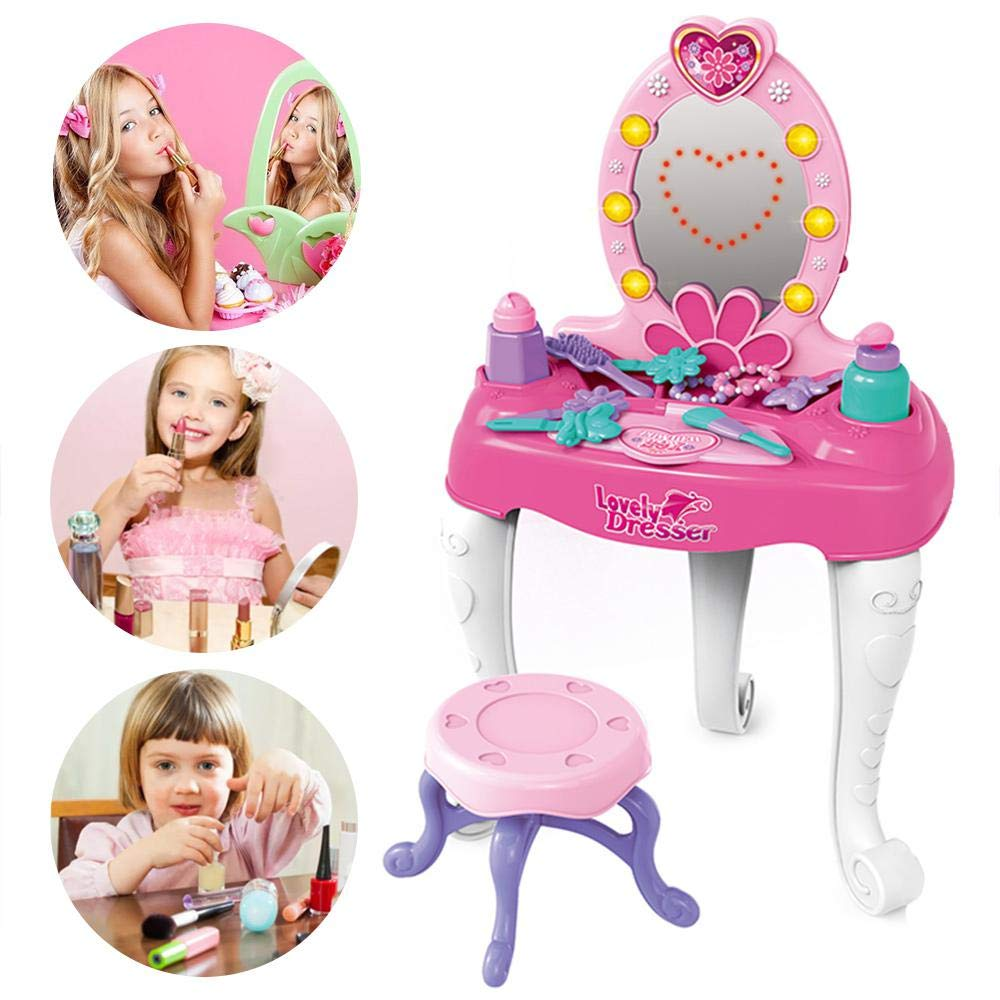 Baiwka Girls Dressing Table Play Set, Kids Dressing Table Set, Pretend Play Kids Vanity Table and Chair with Mirror & Light & Music, Ideal Toy Gift for Girls by Baiwka