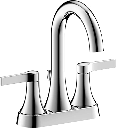 Ultra Faucets Nita Collection Chrome Two Handle Centerset Bathroom Sink Faucet – 3 Holes Curved Body Deck Mount Lavatory Sink Faucet