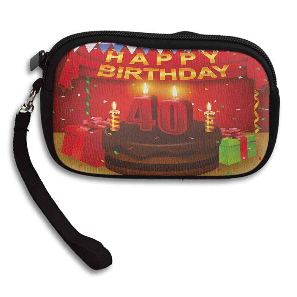 40th Birthday Coin Purse Money Bag Party Set Up with the Flags Chocolate Cake Ribbons and Confetti Rain Print W 5.9x L 3.7 Students Lovely Purse Female