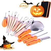 Halloween Pumpkin Carving Tool Set, 13 Pieces Heavy Duty Stainless Steel Tool Set for Halloween Decoration, Professional Jack-O-Lanterns Pumpkin Cutting Supplies Tools Kit with Carry Case