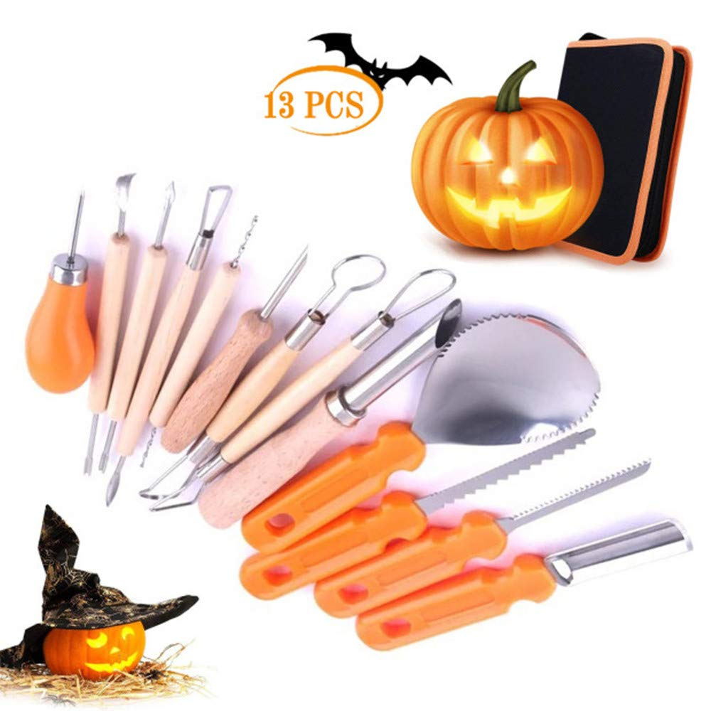 Halloween Pumpkin Carving Tool Set, 13 Pieces Heavy Duty Stainless Steel Tool Set for Halloween Decoration, Professional Jack-O-Lanterns Pumpkin Cutting Supplies Tools Kit with Carry Case by TUMURPEAK