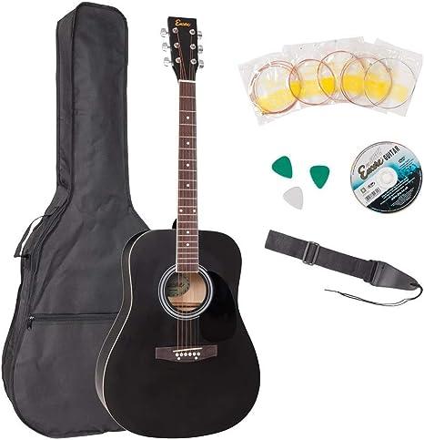 Encore Guitarra Acústica con accesorios, color negro: Amazon.es ...