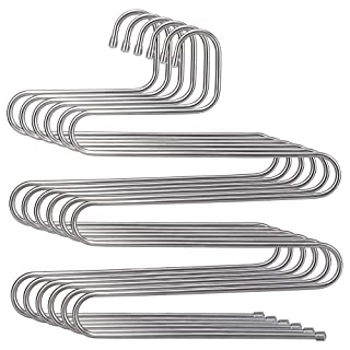 HOMEIDEAS Pants Hangers Space Saving S-Shape/Type Multi Layers Pants Hangers Stainless Steel Trousers Hangers for Pants Jeans Scarf(5 Layers,6Pcs)