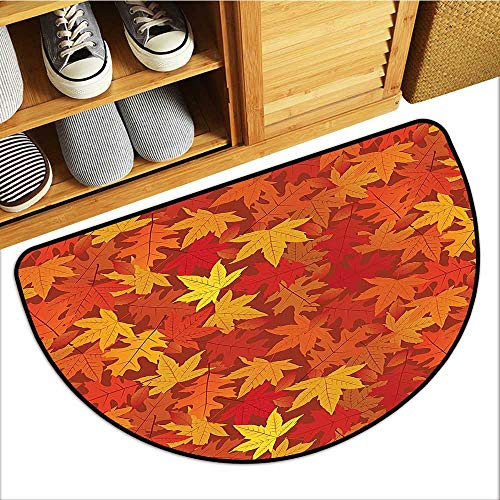 Semi Circle Pattern Rugs Colored Autumn Fall Maple Unusual Nature Theme Burnt Orange Keep Your House Clean W35xH23 INCH