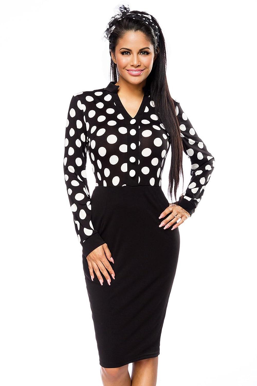 Elegantes Abendkleid Bleistiftkleid in schwarz mit weißen ...